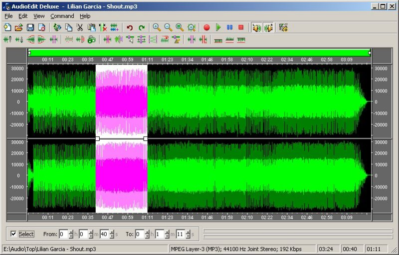 Visual audio editor and converter software.